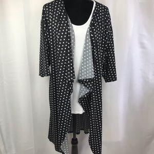 Lularoe Shirley Kimono black and white polka dots